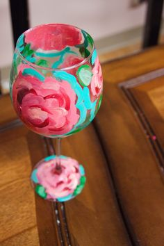 First ImpressionLilly Pulitzer Painted Wine Glass by lovelylaurenm, $15.00