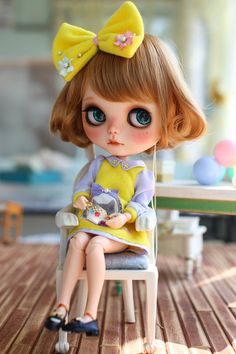 Items similar to Juju's*Blythe outfit kindergarten-yellow on Etsy Pretty Dolls, Beautiful Dolls, Ooak Dolls, Blythe Dolls, Cute Baby Dolls, Creepy, Barbie, Little Doll, Custom Dolls