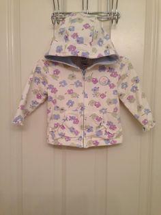 NWOT baby Gap girl flower hoodie purple blue green ruffle trim full zip 6-12m #Dress