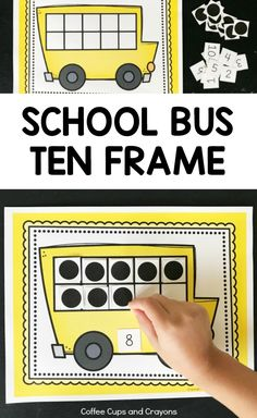 Free Printable School Bus Ten Frame for Preschool, Kindergarten and First Grade Kids!