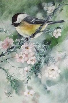 "Daily Paintworks - ""Mossy Blooms"" Original Fine Art for Sale © Paulie Rollins♥🌸♥ I Like Birds, Pretty Birds, Little Birds, Beautiful Birds, Watercolor Bird, Watercolor Paintings, Fine Art Auctions, Bird Pictures, Bird Art"