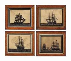 A SET OF FOUR ENGLISH REVERSE-PAINTED GLASS PICTURES OF SHIP SILHOUETTES