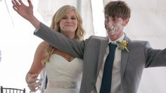 Groom gets cake in the face at wedding