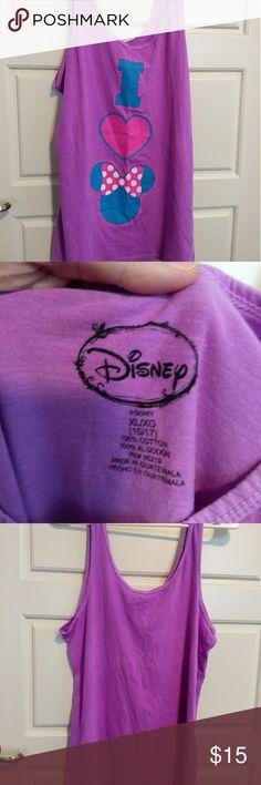 Disney I heart Minnie Tank Top Neon purple colored I Heart Minnie tank top. Soft cotton. From smoke free home. Happy shopping! Disney Tops Tank Tops