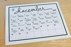 Elf on the Shelf Planning Calendar