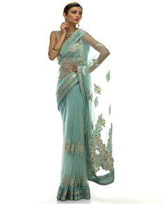 Sky Blue Net Saree by http://www.ShantanuNikhil.com/