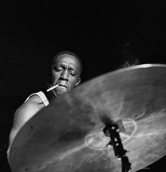 """Drummer Art Blakey, father of """"hard bop"""" jazz style. His band The Jazz Messengers was a school for young hopeful jazzers. Jazz Artists, Jazz Musicians, Music Icon, My Music, Reggae Music, Rock Music, Francis Wolff, Hard Bop, Foto Portrait"""