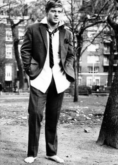 Robert Redford lives up to the title of the film he's promoting — Barefoot in the Park, 1967