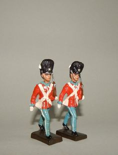 """""""2 Soldaten der königlich dänischen Garde"""" Lineol - 7,5 cm Massesoldaten"""