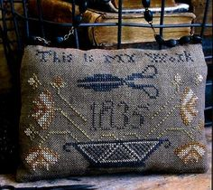 Primitive Cross Stitch Pattern - This is My Work Pinkeep by Pineberry Lane