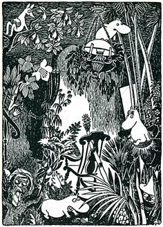 Illustration by Tove Jansson - Mumin trolls Tove Jansson, Les Moomins, Black And White Illustration, Children's Book Illustration, Mode Inspiration, Les Oeuvres, Illustrations Posters, Painting & Drawing, Totoro