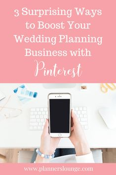 Pinterest is one of the most underutilized marketing tools in the wedding industry. Most couples are using the platform to save inspiration and search for information to plan their wedding day.   In this blog post, learn the 3 Pinterest strategies that can drive major business to your wedding planning company!   From Planner's Lounge, the #1 resource website and community for wedding planners.  #weddingplanner  #weddingplanners #weddingbusiness #eventplanner #weddingplanning #marketing