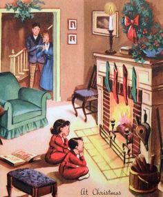 Kids Wait by the Hearth-Vintage Christmas Card-Greeting Vintage Christmas Images, Retro Christmas, Vintage Holiday, Christmas Pictures, Vintage Greeting Cards, Christmas Greeting Cards, Christmas Greetings, Christmas Postcards, Vintage Postcards