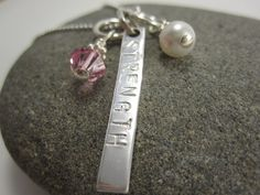 STRENGTH Necklace in Sterling Silver by TheSterlingCharm on Etsy, $27.00