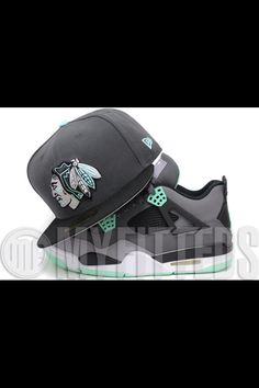 best sneakers ca06c bad5f Chicago Blackhawks Carbon Graphite Jet Black Seaglass Glow Air Jordan IV  Green Glow Matching New Era Hat