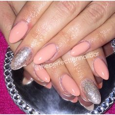 Nude and champagne glitter, gel polish, acrylic, nails