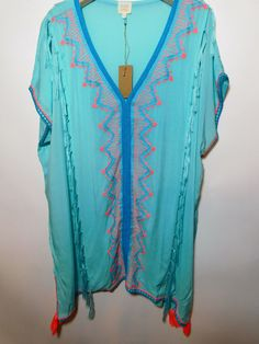 54e7830085 Surf Gypsy - Ebroidered V Neck Cover Up with tassel trim