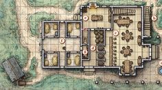 Blue Water Inn - Mike Schley map cartography | Create your own roleplaying game material w/ RPG Bard: www.rpgbard.com | Writing inspiration for Dungeons and Dragons DND D&D Pathfinder PFRPG Warhammer 40k Star Wars Shadowrun Call of Cthulhu Lord of the Rings LoTR + d20 fantasy science fiction scifi horror design | Not Trusty Sword art: click artwork for source