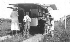 The Library's bookmobile on Compton Road, Cincinnati, Ohio, 1933