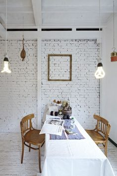 Ase House Interior By No 555 Home Remodeling Painted Brick Walls White