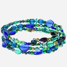 Hues of blues in this Michal Golan Swarovski crystal memory wire bracelet from her Peacock collection. - Material: Swarovski Crystal beads, glass, 24k Gold Plate - Size: Adjustable - Artisan handmade