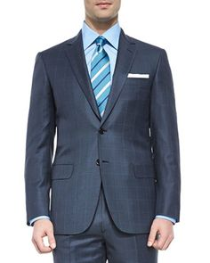 Super+150s+Wool+Windowpane+Suit,+Blue+by+Brioni+at+Neiman+Marcus.