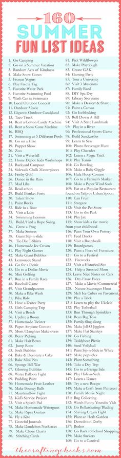 160 Summer Fun List IDEAS via @Matt Valk Chuah Crafting Chicks #summer #list #fun