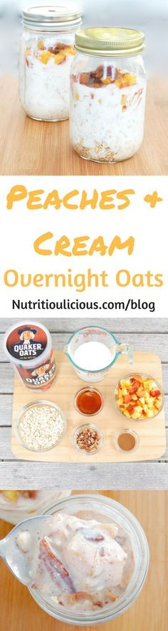 Peaches & Cream Overnight Oats | Maple-roasted peaches top creamy kefir-soaked overnight oats in this easy make-ahead breakfast perfect for rushed mornings and back-to-school. Recipe /jlevinsonrd/. (AD)