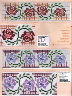 Simple pink embroidery and flowers grills & amp; Cross Stitch Rose, Cross Stitch Borders, Cross Stitch Flowers, Cross Stitch Patterns, Rose Embroidery, Cross Stitch Embroidery, Broderie Simple, Border Pattern, Bargello