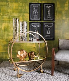 Care for a cocktail? A mod stainless steel bar cart sets the mood in style. Modern Glass, Mid-century Modern, Holiday Boutique, Serving Cart, Stainless Steel Bar, Mid Century Modern Decor, Wall Decor, Wall Art, Shop Lighting