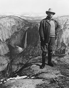 President Theodore Roosevelt at Glacier Point in Yosemite National Park, California, 1903. Five years later he assembled the state governors in a conservation conference in the East Room that resulted in the National Conservation Commission.
