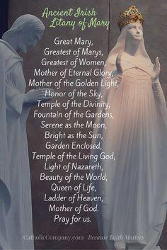 An century Irish prayer to the Blessed Virgin Mary. Religion Catolica, Catholic Religion, Catholic Quotes, Catholic Prayers, Irish Catholic, Roman Catholic, Catholic Saints, Blessed Mother Mary, Blessed Virgin Mary