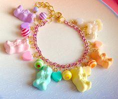 Candy Pastel Bracelet  Bear Kawaii Rainbow Gummy by XKawaiiCutieX