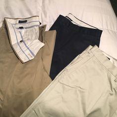 3 Pair of Excellent condition Mens dress pants 3 Pair of Excellent condition Mens dress pants. Lands end, traditional fit, size 36. navy, khaki, stone Lands' End Pants