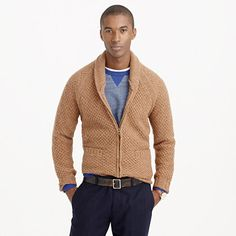 Inspired by the heavy wool sweaters from the British Isles that we've loved for decades, we made this cardigan in Shetland wool sourced from England, gave it a classic honeycomb stitch and finished it with handsome elbow patches. It's warm enough to serve as your jacket on chilly days and as a formidable additional layer for the colder months of winter. <ul><li>Wool.</li><li>Patch pockets.</li><li>Hand wash.</li><li>Import.</li><li>Online only.</li></ul>