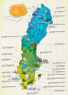 Illustrated Map of Sweden Sweden Map, Sweden Travel, Italy Travel, Travel Maps, Travel Posters, Travel Photos, Sweden Stockholm, Voyage Suede, Kingdom Of Sweden