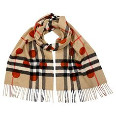 Burberry Classic Cashmere Scarf in Check and Dots - Burnt Orange - http://todays-shopping.xyz/2016/08/05/burberry-classic-cashmere-scarf-in-check-and-dots-burnt-orange/