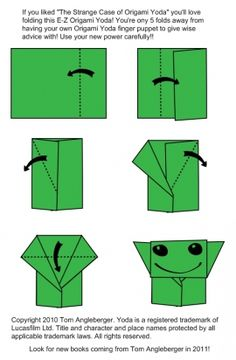 This activity gives the opportunity for the students to create and put together their own Origami Yoda finger puppets. This activity is from the Origami Yoda series written by Tom Angleberger. It could be a relaxing Monday morning activity! Origami Yoda Instructions, Origami Tutorial, Origami Simple, How To Make Origami, Star Wars Origami, Origami Stars, Origami Flowers, Origami Yoda Book, Star Wars Classroom