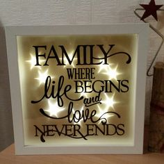 gift family illuminated picture frame with family spell led frame wall beleuchteter. Black Bedroom Furniture Sets. Home Design Ideas