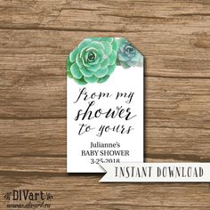 From My Showet to Yours Tag Template, Hang Tag, Bridal Shower Favor Hang Tag with names and date - editable PDF file - Julianne - FT07 by DIVart on Etsy