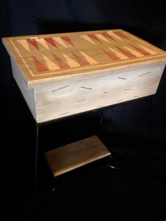 Distressed Hand Painted Backgammon Side Table by EuroCountryChic