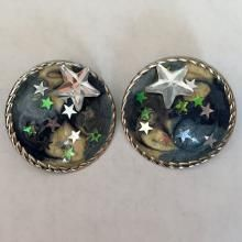 Silver tone round shape push back earrings with enamel and stars design, no hallmarks