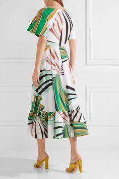 Emilio Pucci - Pleated Printed Stretch-cotton Poplin Midi Dress - Green - IT38
