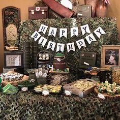 Amber Eskew Army Birthday Cakes, Army Birthday Parties, Kids Birthday Themes, 60th Birthday Party, 1st Boy Birthday, Birthday Party Decorations, Lego Birthday, Camouflage Birthday Party, Deer Hunting Birthday