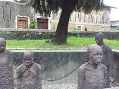 Arab slave traders from Oman enjoyed their business on Zanzibar until late 19th century. This is a commemorative memorial in Stone Town slave market.