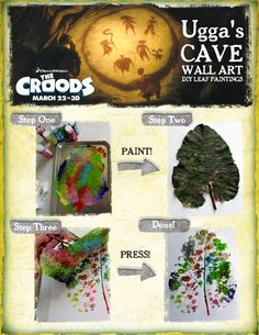 Decorate your cave walls with this DIY leaf painting! #thecroods (source: http://kleas.typepad.com/kleas/2010/10/leaf-printing.html)