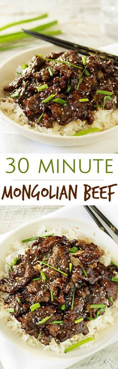30 Minute Mongolian Beef with Coconut Rice - The Chunky Chef Mongolian beef is such a classic and delicious Asian dish. In just 30 minutes you'll have an incredible meal! 30 Min Meals, Quick Meals, Easy 30 Minute Meals, Lunch Recipes, Cooking Recipes, Healthy Recipes, Quick Beef Recipes, Healthy Soup, Soup Recipes