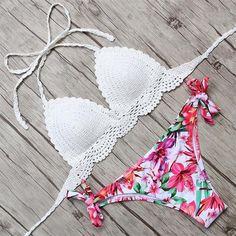 Sexy Bandage Bikinis Women Brazilian swimsuit Solid Floral  Print Swimwear Women Push Up Costumi Da Bagno Donna