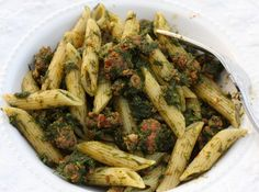 Penne with wild fennel and sausage  Try this with the wild fennel that grows here, sweet anise flavor?