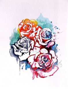 "Abstract Floral Original Watercolor Painting ""Love in Bloom"""